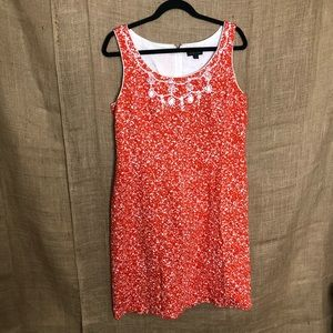 Tahari Orange Beaded Neck Dress 12 Print FLAW